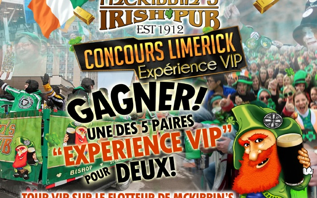 McKibbins Irish Pub: Montreal's original Pub & Bar  | CONCOURS LIMERICK! | McKibbins Irish Pub is the Montreal Irish Pub & Bar. The best bar & pub food in the Montreal area with an irish twist, live bands & over 24 beers on tap.