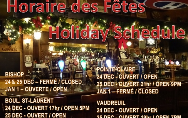 McKibbins Irish Pub: Montreal's original Pub & Bar  | Joyeuse Fêtes | McKibbins Irish Pub is the Montreal Irish Pub & Bar. The best bar & pub food in the Montreal area with an irish twist, live bands & over 24 beers on tap.